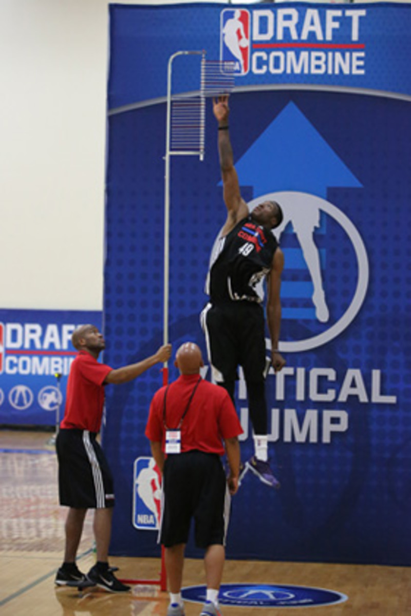 Thanasis Antetokounmpo participates in the vertical jump test during the 2014 Draft Combine in Chicago, Illinois.