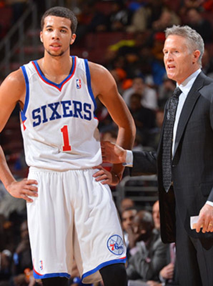 Brett Brown (right) wasn't always a believer in Michael Carter-Williams as an NBA player.