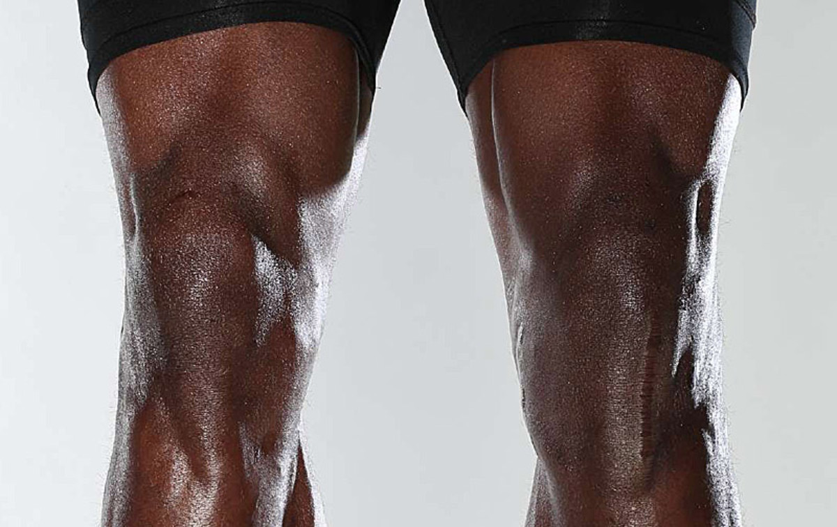 Peterson's knees. He tore the ACL and MCL in his left knee in December 2011. (Simon Bruty/Sports Illustrated)