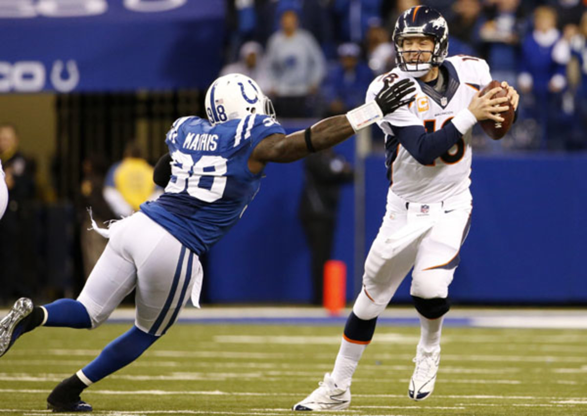 Robert Mathis and Peyton Manning both could break single-season records this year. (MCT via Getty Images)
