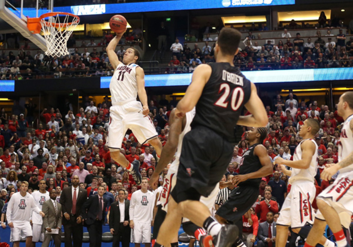 Aaron Gordon (11) had 15 points, six rebounds and two blocks in Arizona's Sweet 16 win over San Diego State. (Jeff Gross/Getty Images)