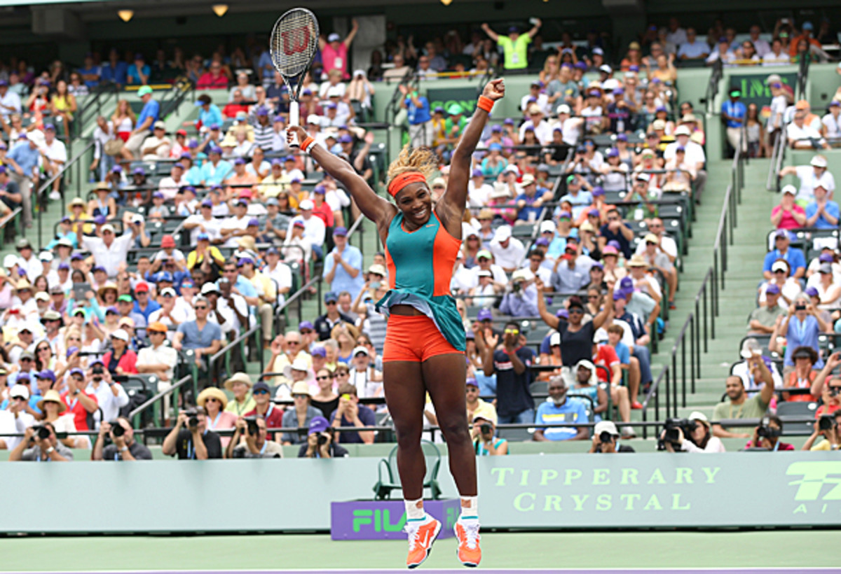 Serena Williams jumps for joy after clinching the title at the Sony Open. (Clive Brunskill/Getty Images)