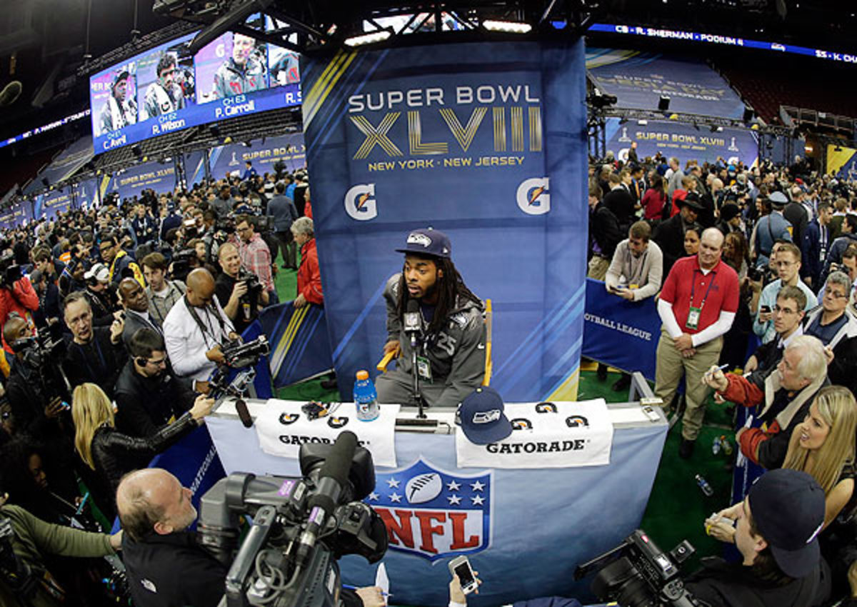 Richard Sherman doesn't want to overshadow his teammates in advance of the Super Bowl.