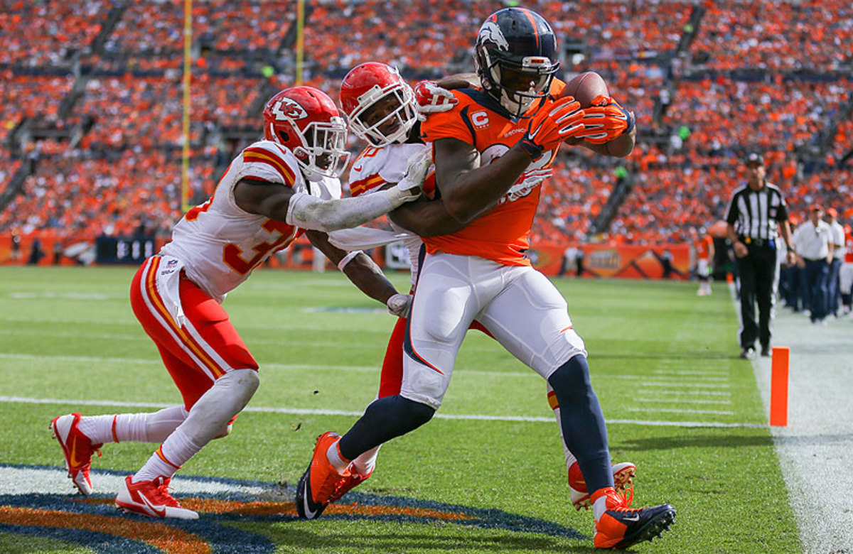 DeMaryius Thomas had five catches, including this touchdown grab, in the Broncos' 24-17 win over the Chiefs in Denver on Sunday. (Justin Edmonds/Getty Images)