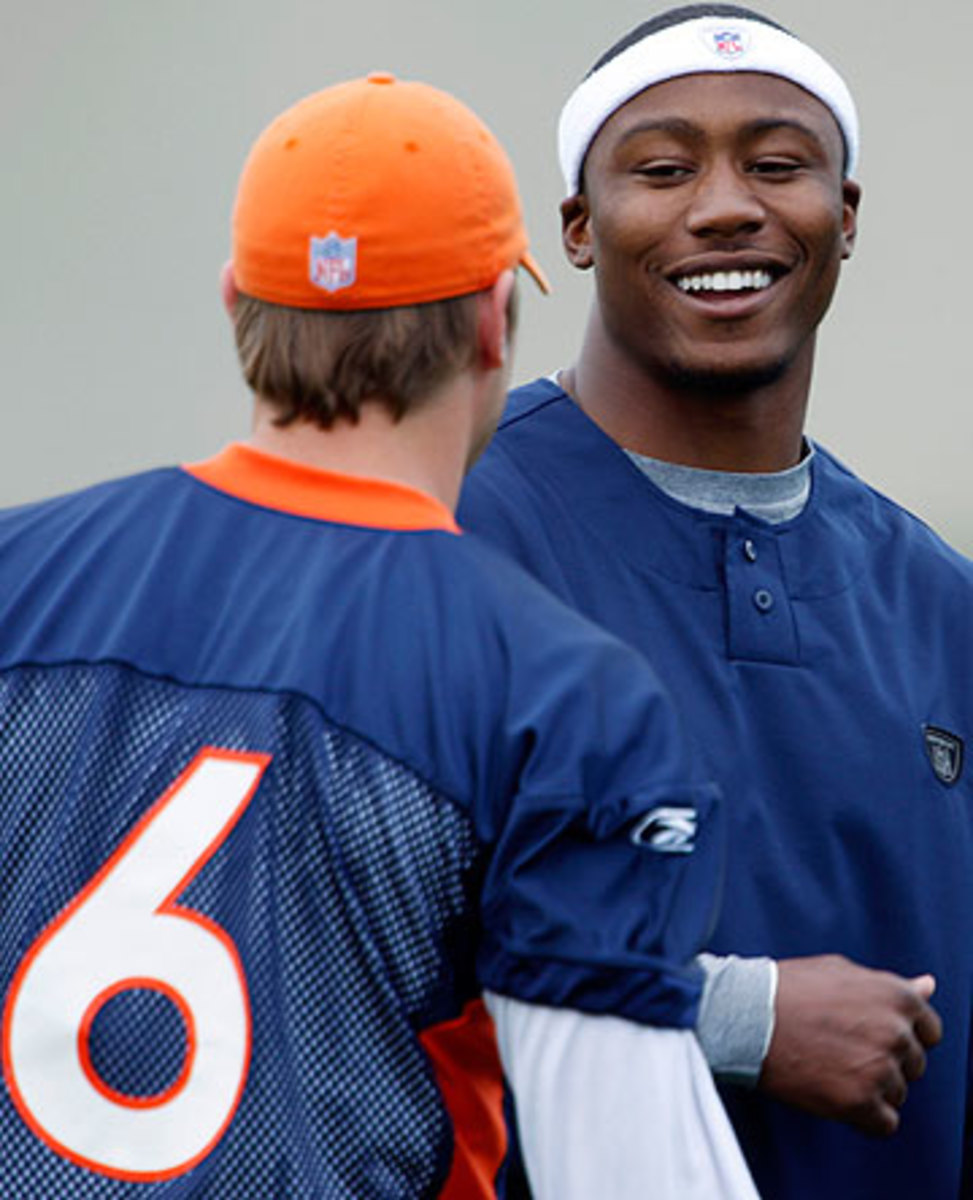 Jay Cutler and Brandon Marshall played three seasons together in Denver from 2006-08 and are now in their third year together in Chicago. (David Zalubowski/AP)