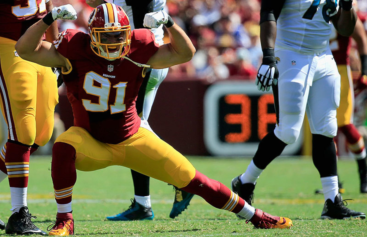 Ryan Kerrigan had four of the Redskins' 10 sacks against Jacksonville on Sunday. (Rob Carr/Getty Images)