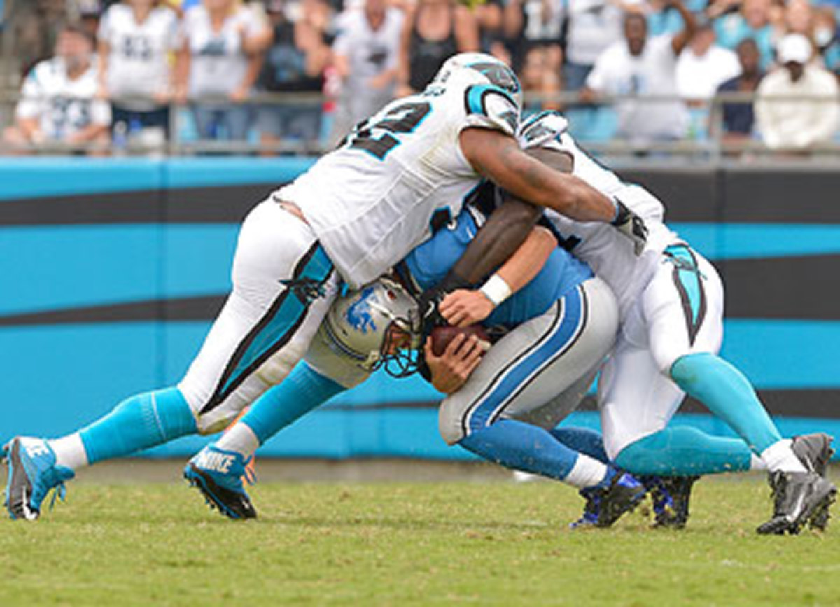 The Panthers defense made things uncomfortable for Matthew Stafford on Sunday. (Grant Halverson/Getty Images)