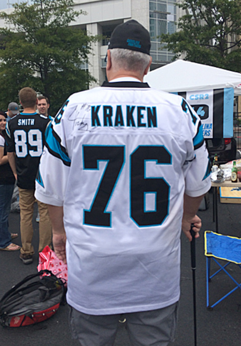 """From Sunday, a Greg Hardy jersey featuring his """"Kraken"""" nickname. (Emily Kaplan/The MMQB)"""