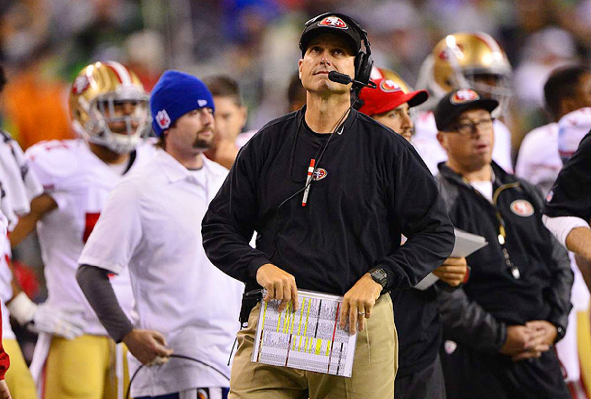 Jim Harbaugh has taken the 49ers to the conference title game in three straight seasons.