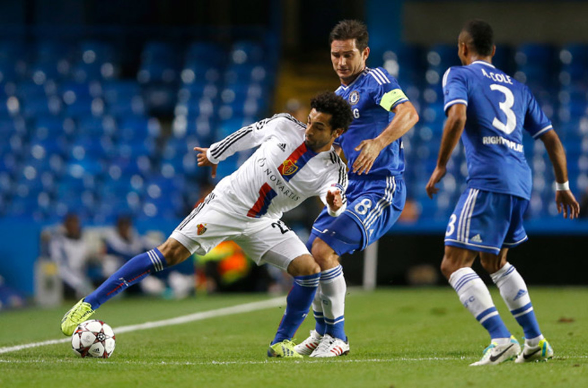Mohamed Salah, left, helped Basel defeat Frank Lampard, Ashley Cole and Chelsea in the Champions League. He'll be joining the Blues now after the teams agreed to a deal for the Egyptian star.
