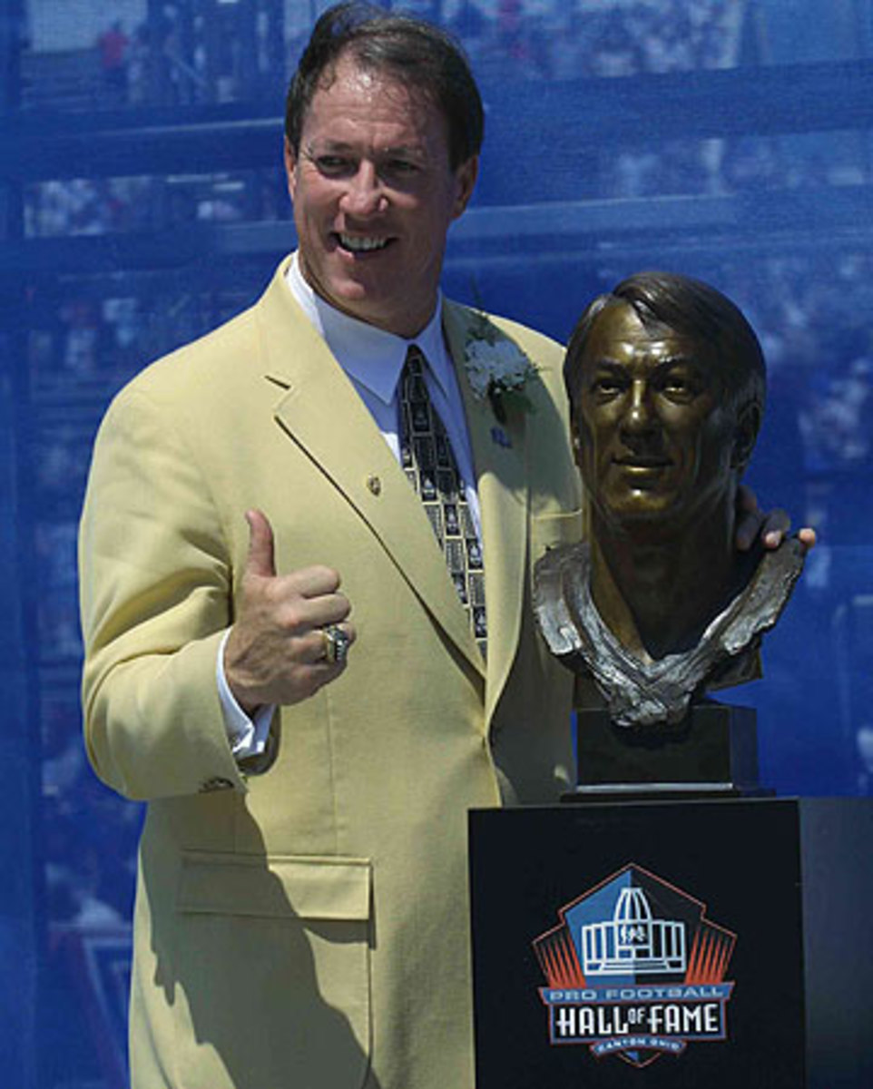 Jim Kelly was enshrined in the Pro Football Hall of Fame in 2002. (David Maxwell/Getty Images)