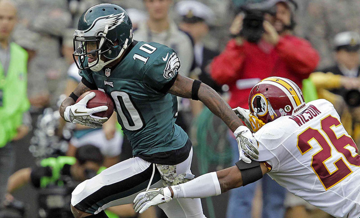 DeSean Jackson had 82 receptions for 1,332 yards and nine touchdowns for the Eagles in 2013. (Hunter Martin/Getty Images)