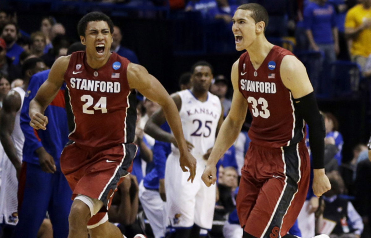 Dwight Powell (33) finished with 15 points and seven rebounds in Stanford's Round of 32 upset over Kansas.