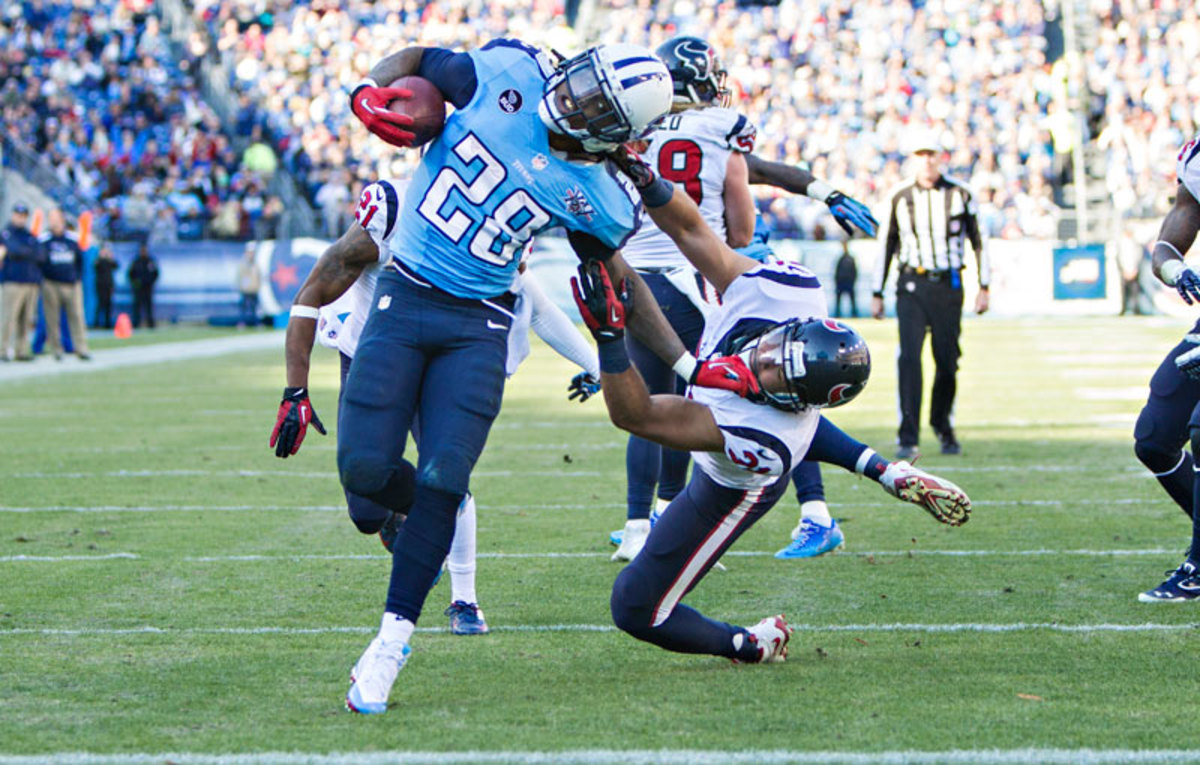 Titans running back Chris Johnson has never rushed for less than 1,047 yards in a season and has missed only one game in six years. (Wesley Hitt/Getty Images)