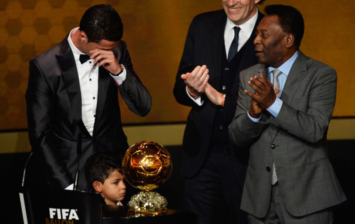 Cristiano Ronaldo was overcome with emotion after being handed the Ballon d'Or trophy by Pele