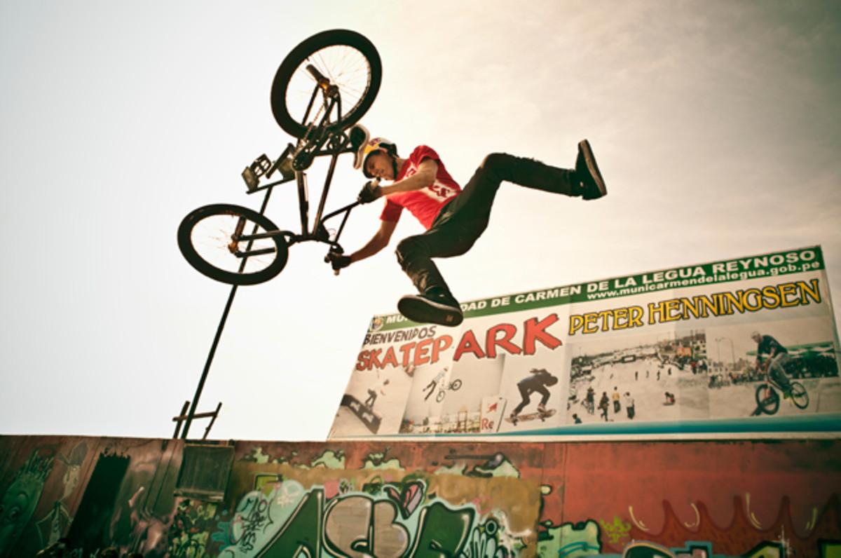Daniel Dhers performs during an exhibition at the Carmen de la Legua Skate Park in Lima, Peru.