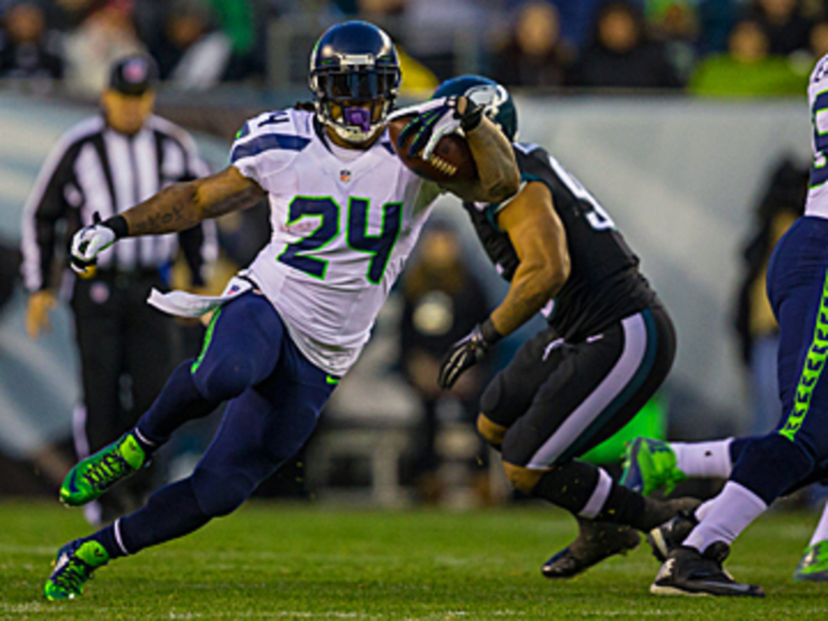 Lynch against the Eagles. (Al Tielemans/SI/The MMQB)
