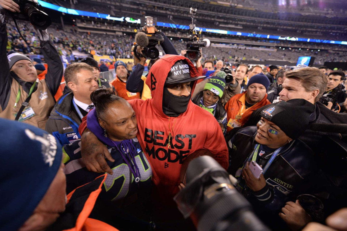 Lynch after winning the Super Bowl last February. (Donald Miralle for Sports Illustrated/The MMQB)