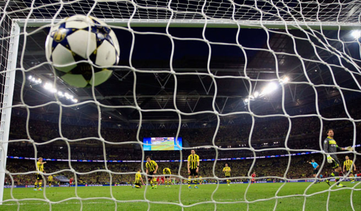 The UEFA Champions League soccer balls, like the one Bayern Munich's Arjen Robben dispatched by Borussia Dortmund in the final last year, are produced in the Forward Sports Factory in Sialkot, Pakistan.