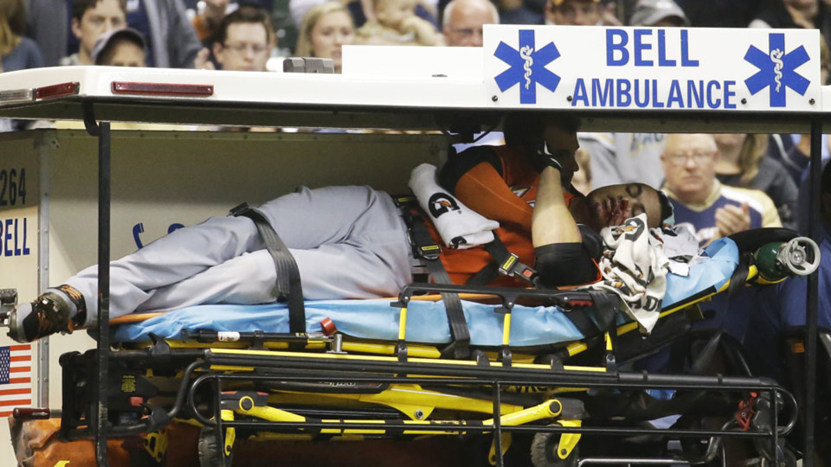 Giancarlo Stanton, then playing with the Marlins, was taken off the field on a stretcher in an ambulance after he was hit with a pitch in the face during a 2014 game in Milwaukee against the Brewers.