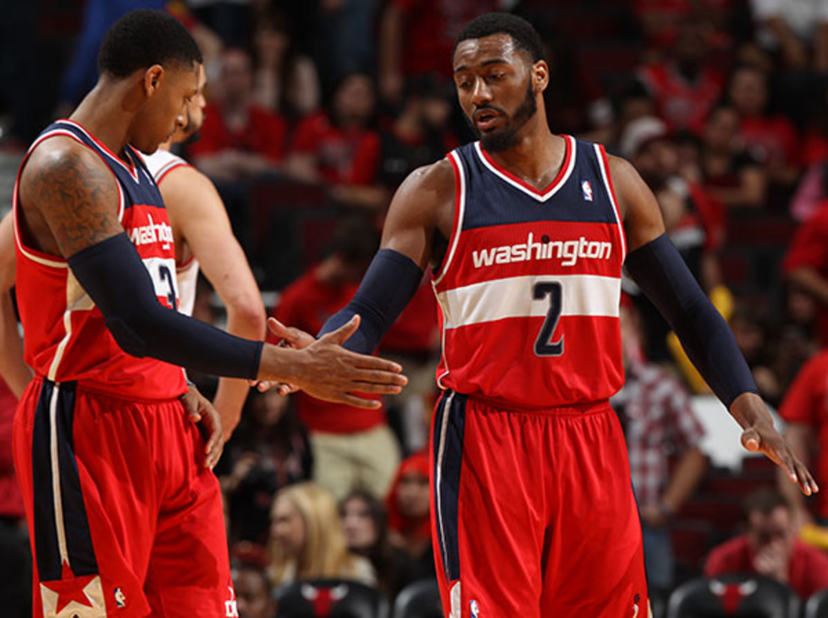 Beal and Wall helped the Wizards take a commanding 2-0 series lead (Gary Dineen/Getty Images)