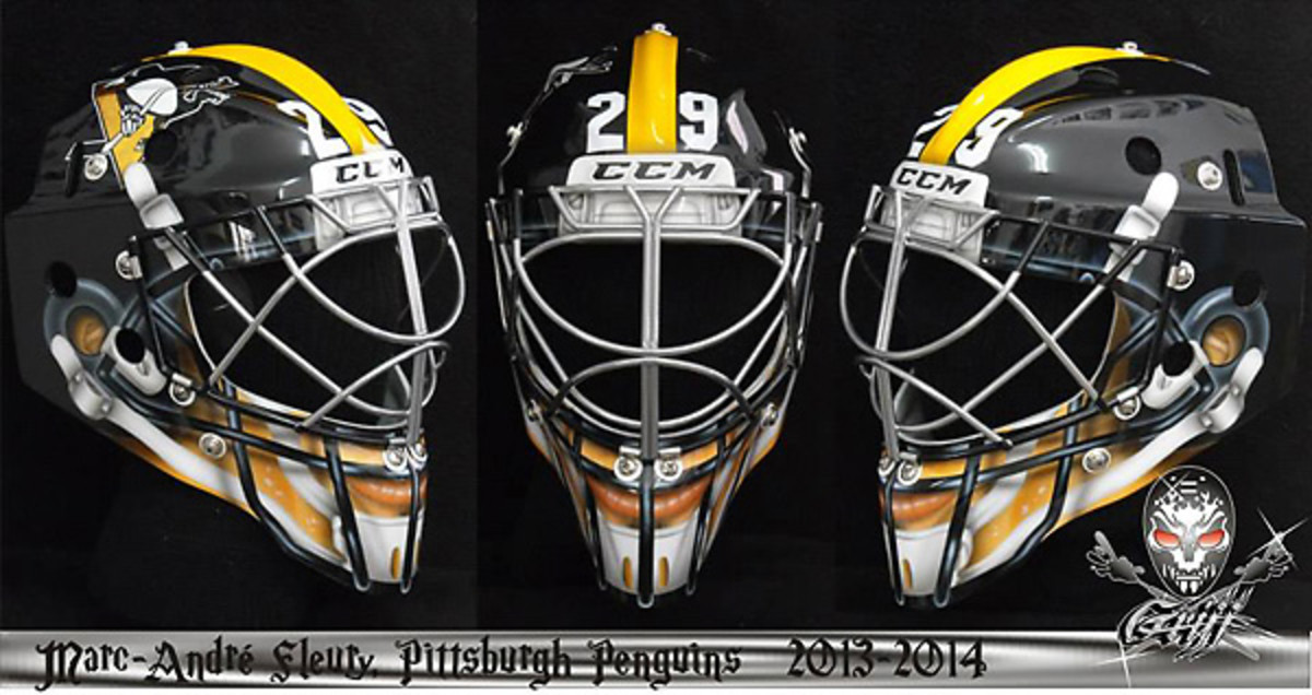 Marc-Andre Fleury will don this Steelers-inspired mask for a Stadium Series clash with the Blackhawks.