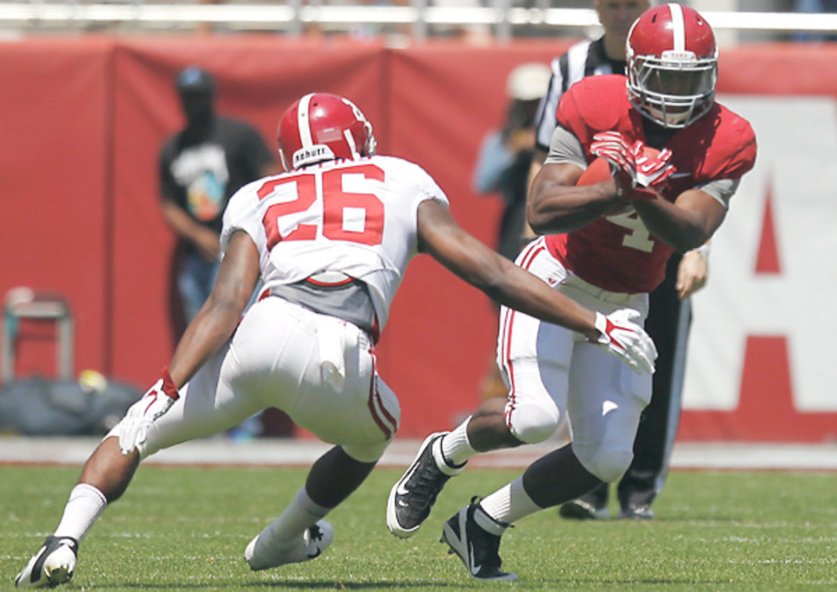 T.J. Yeldon was one of few offensive bright spots on an A-Day that the Alabama defense dominated.