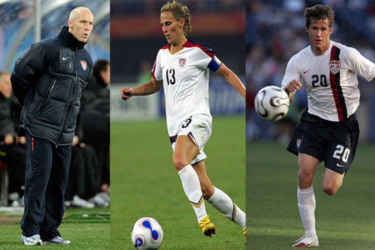 Hall of Fame inductees Bob Bradley, Kristine Lilly and Brian McBride(Getty Images)