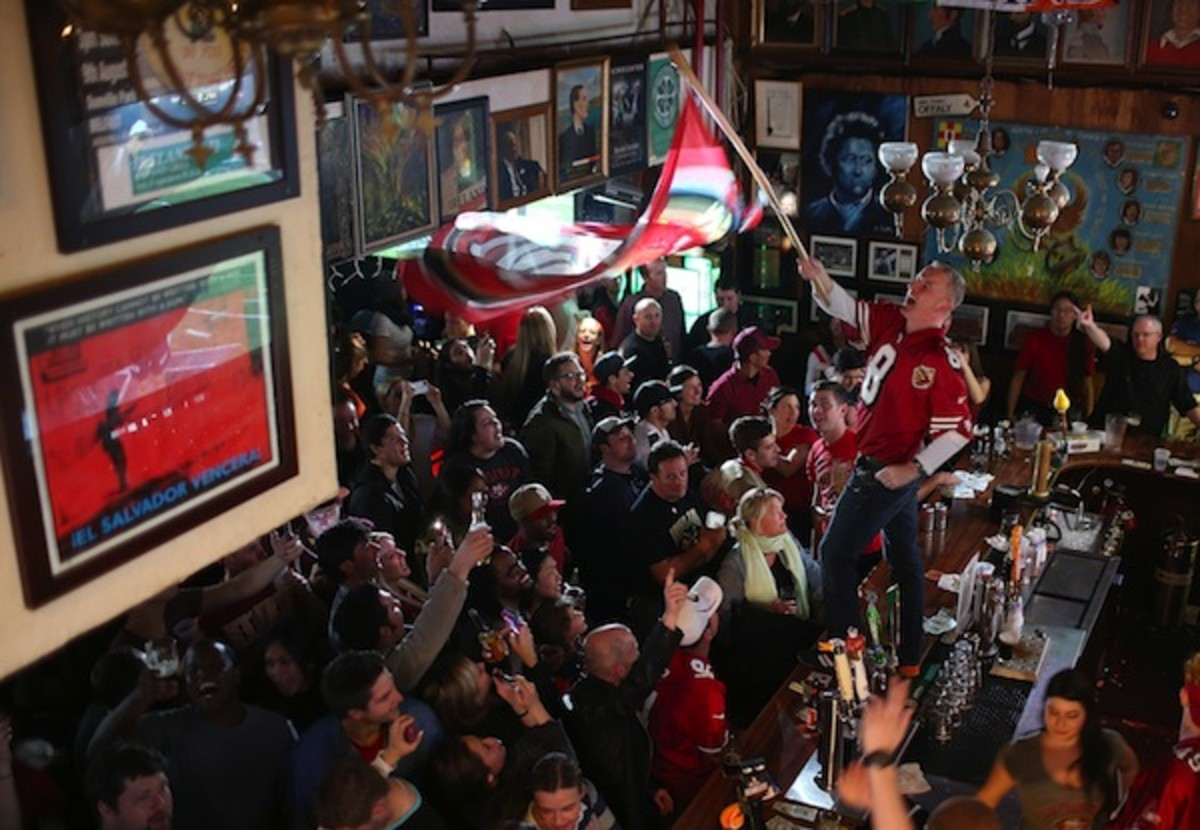 San Francisco Football Fans Gather To Watch Super Bowl Against Ravens