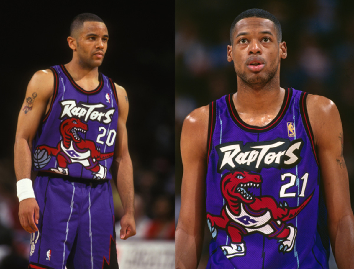 """Damon Stoudamire (left) and Marcus Camby (right) wore the Raptors' purple """"Dino"""" jerseys in 1995. (Mitchell Layton & Rocky Widner/Getty Images)"""