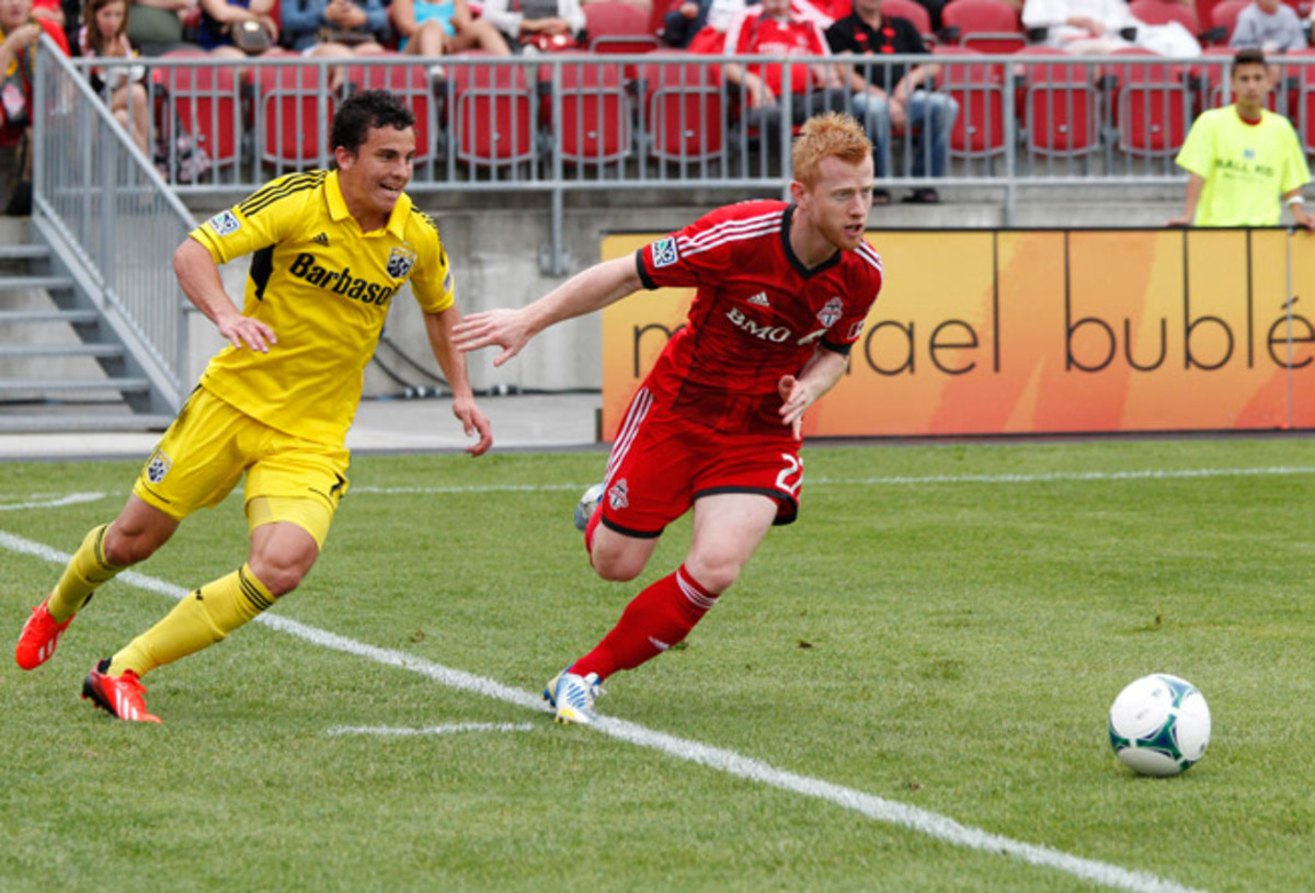 Toronto FC traded defender Richard Eckersley, right, to the New York Red Bulls for a draft pick on Monday.