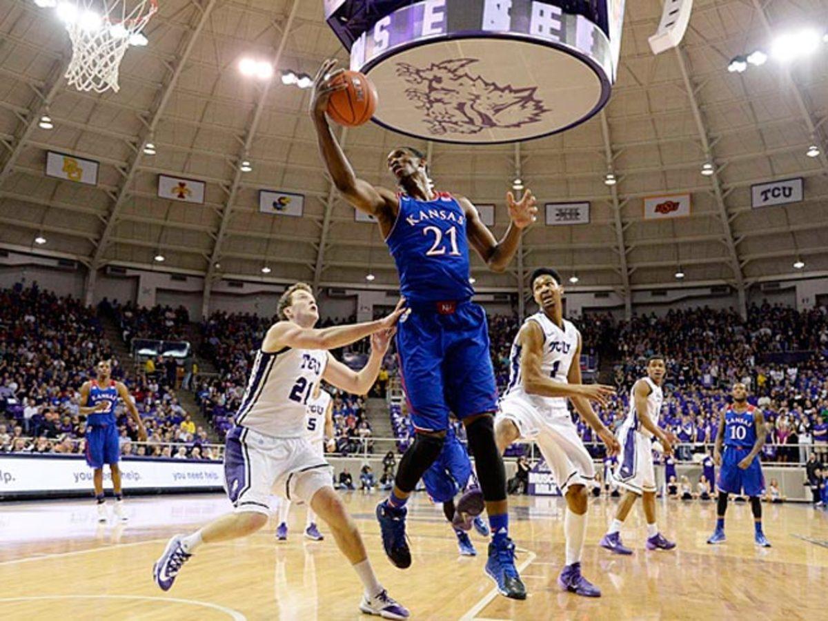 Center Joel Embiid averaged 11.2 points, 8.1 rebounds and 2.6 blocks as a freshman at Kansas.