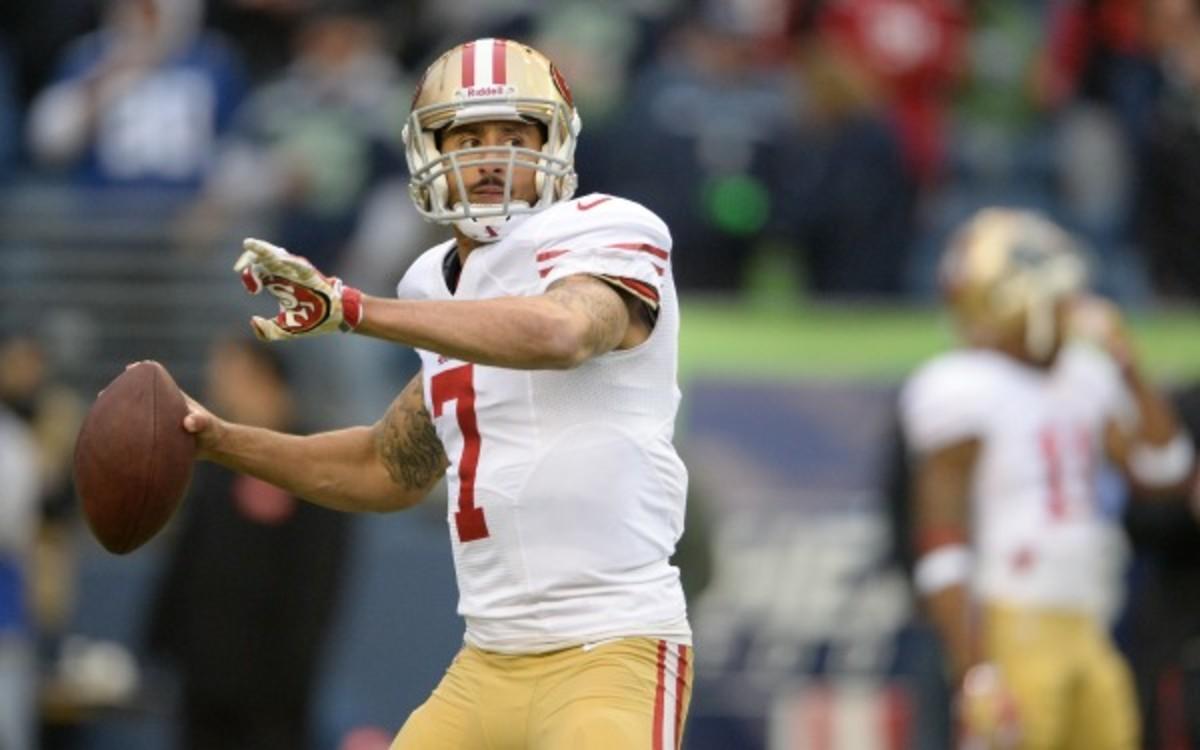 San Francisco 49ers quarterback Colin Kaepernick threw for 3197 yards and 21 touchdowns last season. (AP Photo / Jim Mahoney)