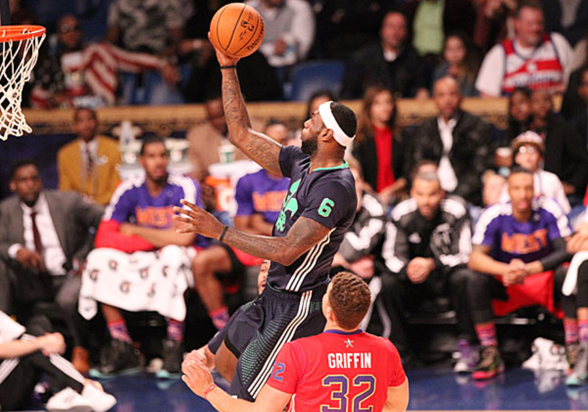 LeBron James scored 22 points to help the East top the West 163-155 in the 2014 All-Star Game. (Bruce Yeung/NBAE via Getty Images)