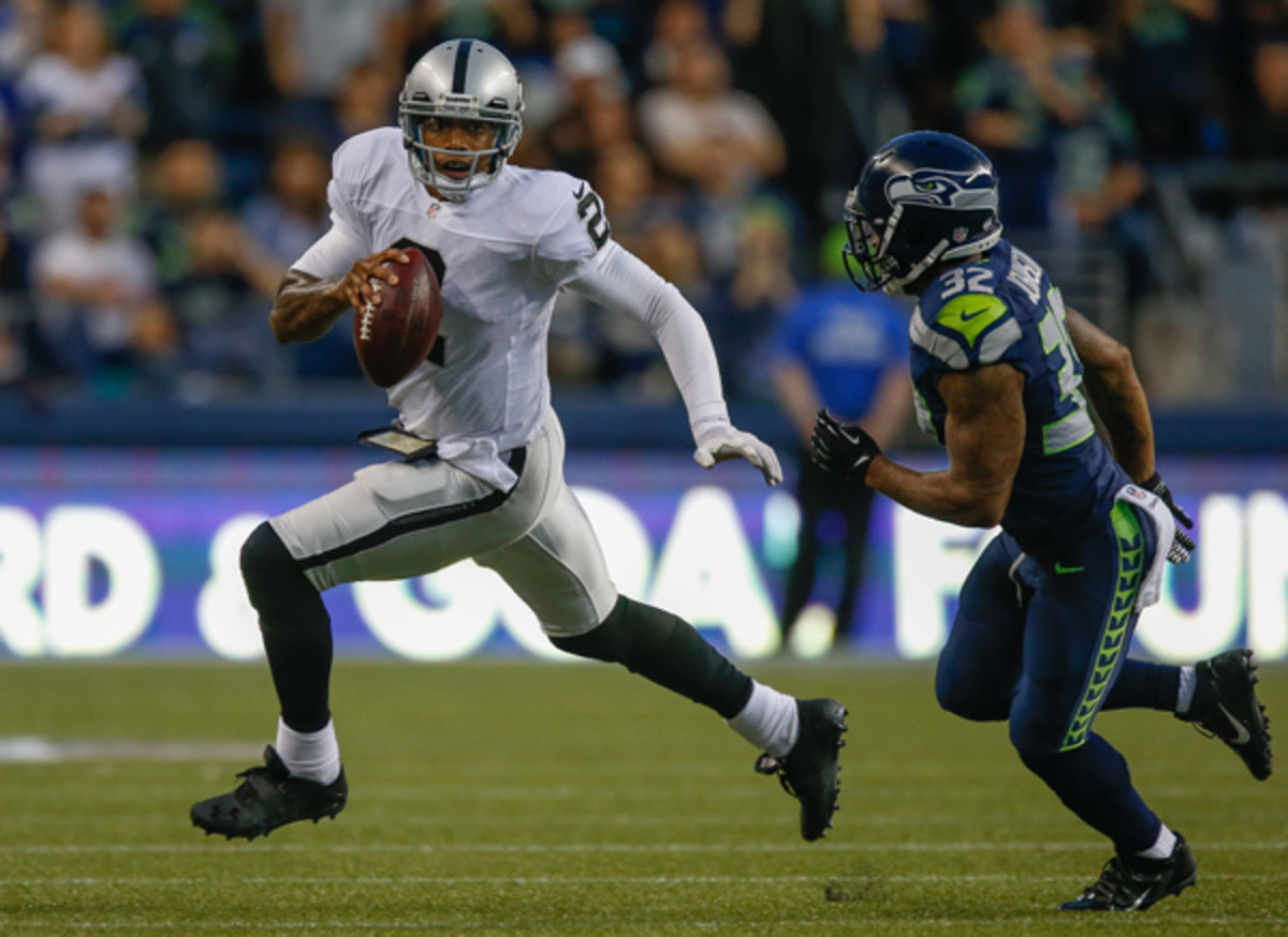 Terrelle Pryor had more rushing yards than passing yards against the Seahawks on Thursday night. (Otto Greule, Jr./Getty Images)