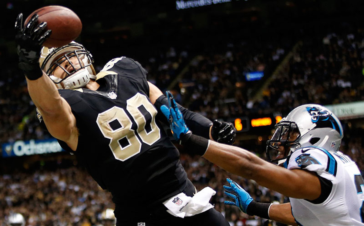 It's hard to imagine the Saints allowing Jimmy Graham to hit the market, though the two sides reportedly are 'millions apart' in negotiating new contract. (Chris Graythen/Getty Images)