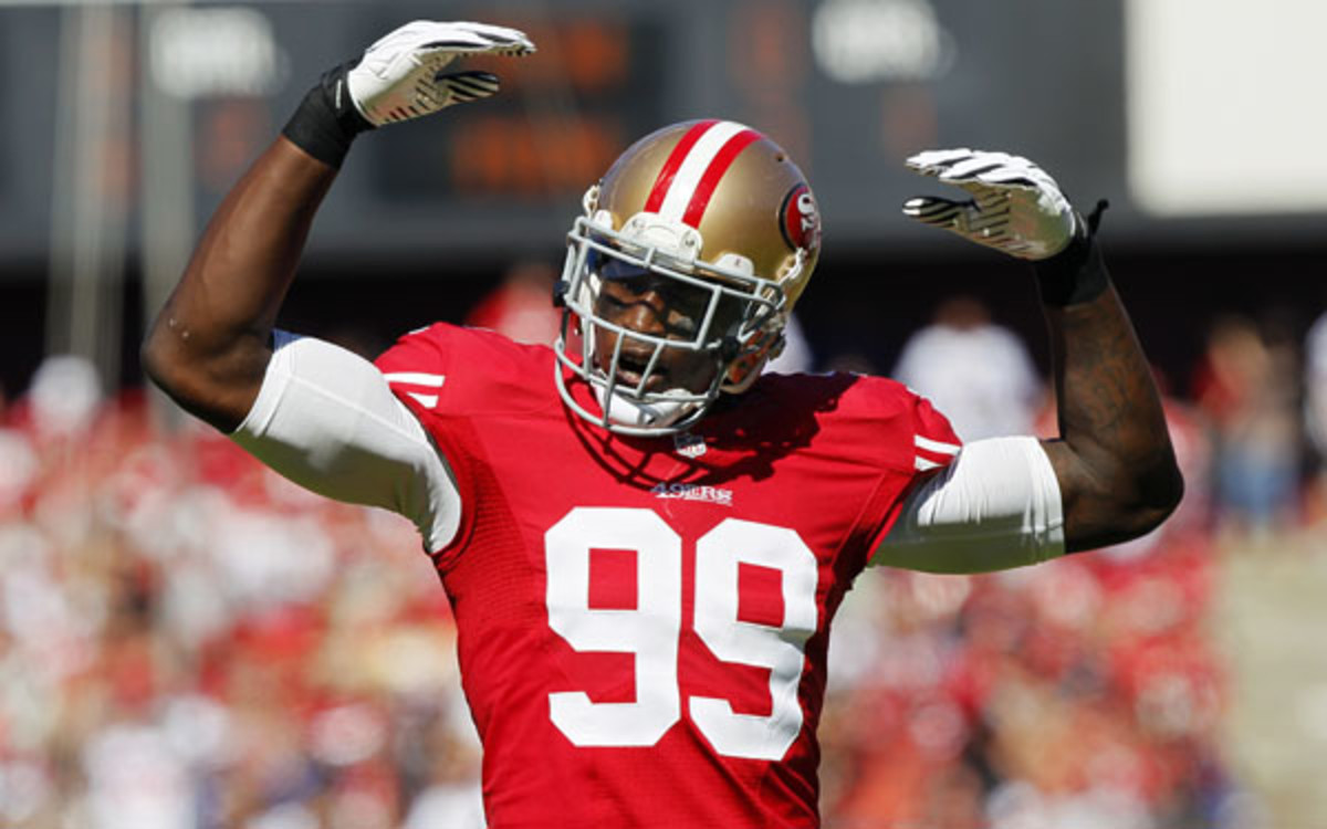 Aldon Smith missed five games during a leave of absence. (Brian Bahr/Getty Images)