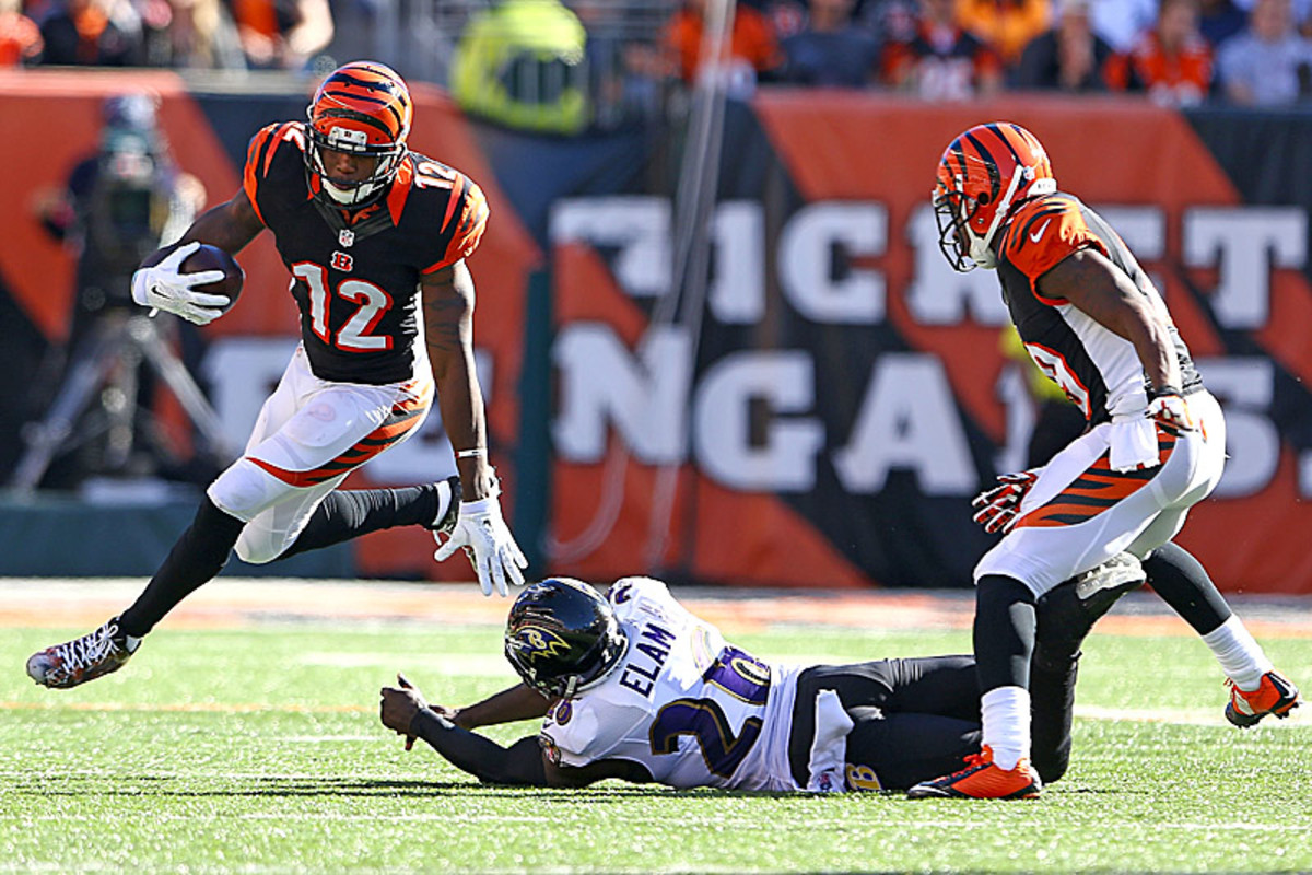 Mohamed Sanu and the Bengals halted a three-game winless streak with a 27-24 win over the Ravens in Cincinnati. The victory capped a season sweep of Baltimore. (Andy Lyons/Getty Images)