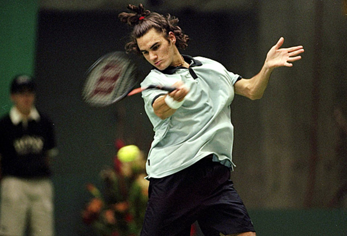 Roger Federer is shown here a week before playing his first ATP final, in February 2000. (Mike Hewitt/Getty Images)