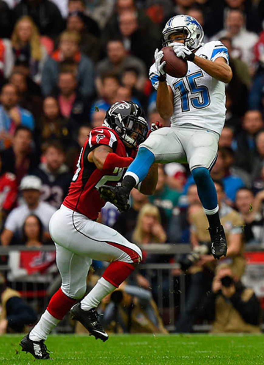 With 151 receiving yards against the Falcons, Golden Tate now has topped 150 in back-to-back games. (Mike Hewitt/Getty Images)