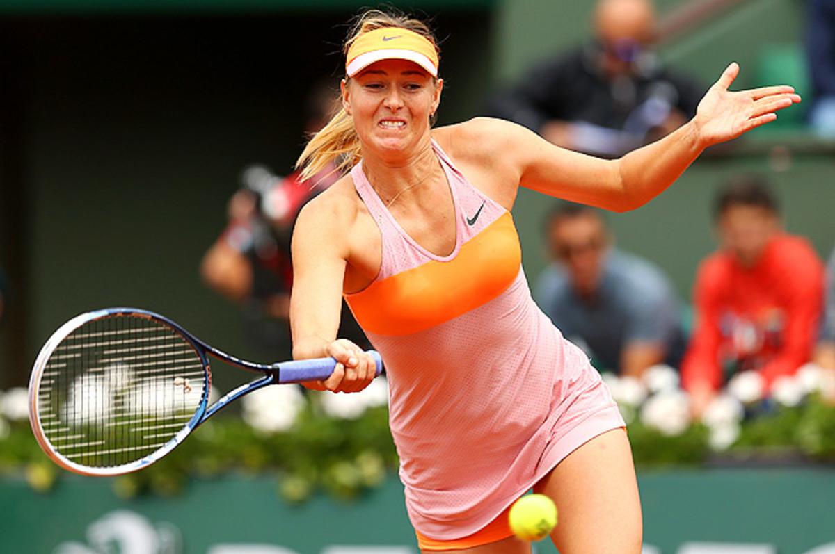 Maria Sharapova was one game from defeat before she seized the match from Garbine Muguruza.