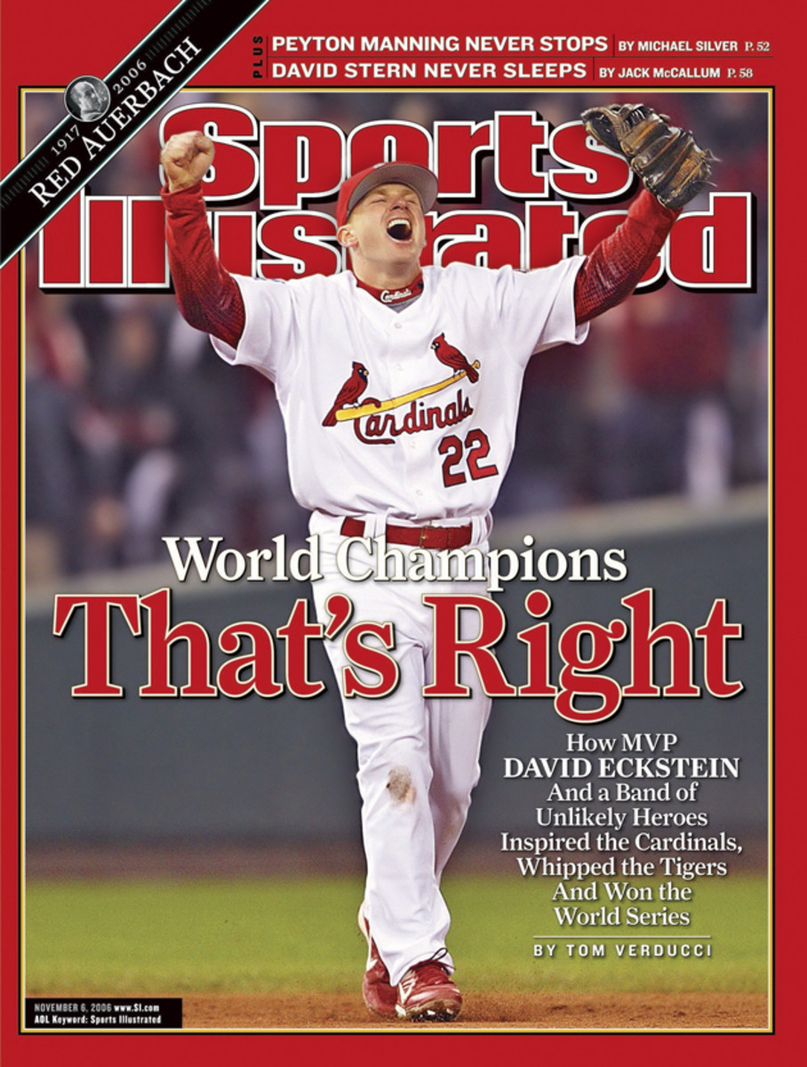 Eckstein on the cover of Sports Illustrated after winning Game 5 and the series vs Detroit Tigers in 2006.
