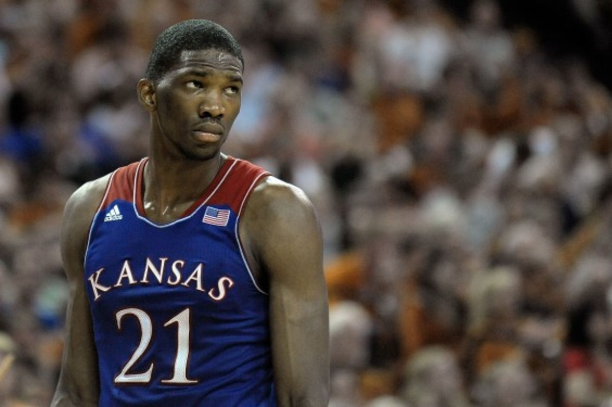 Joel Embiid didn't start playing organized basketball until the summer before his junior year of high school. (Stacy Revere/Getty Images)