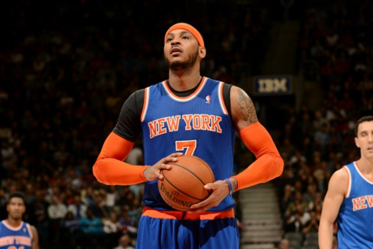 The most Carmelo Anthony could make if he leaves the Knicks is $95.8 million over four years. (Ron Turenne/Getty Images)