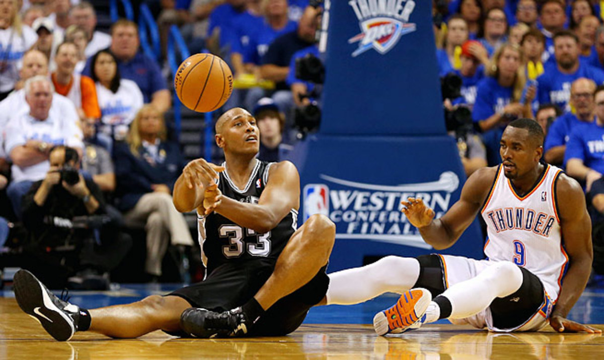 Spurs reserve Boris Diaw (left) has made plays from everywhere -- even while seated -- in the playoffs.