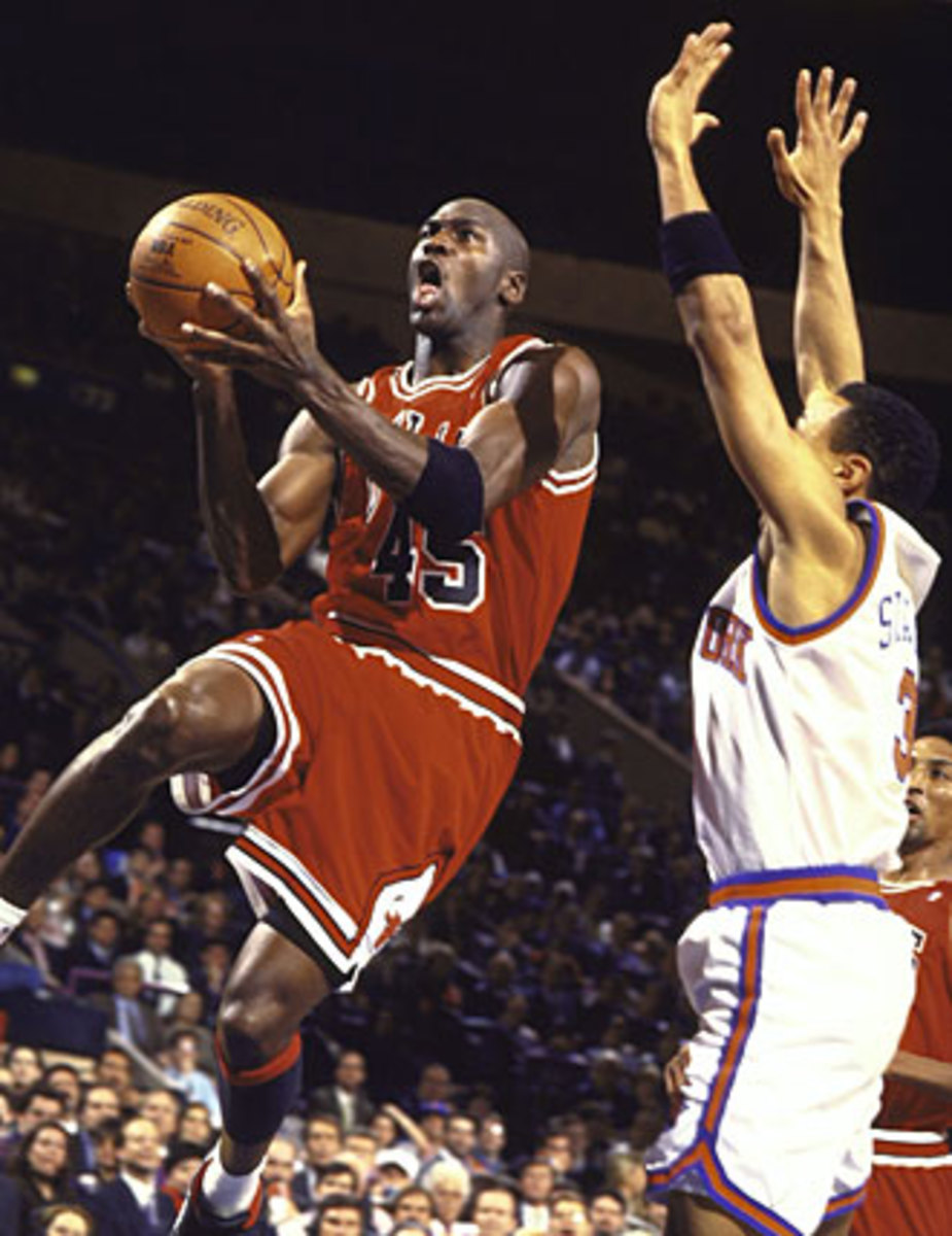 Much as he had done throughout the early '90s, Jordan picked on Knicks guard John Starks all night long.