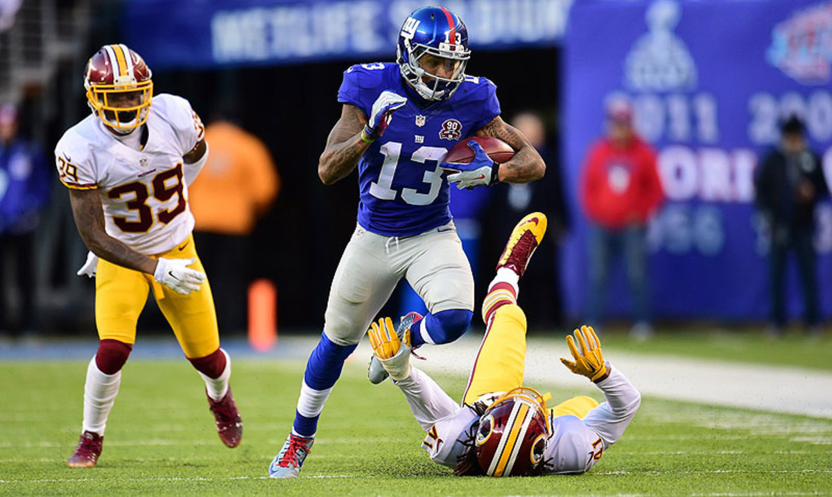 After missing the first quarter of the season with a hamstring injury, Odell Beckham Jr. is averaging 7.1 receptions, 97.2 yards and just under one touchdown per game. (Carlos M. Saavedra/Sports Illustrated/The MMQB)