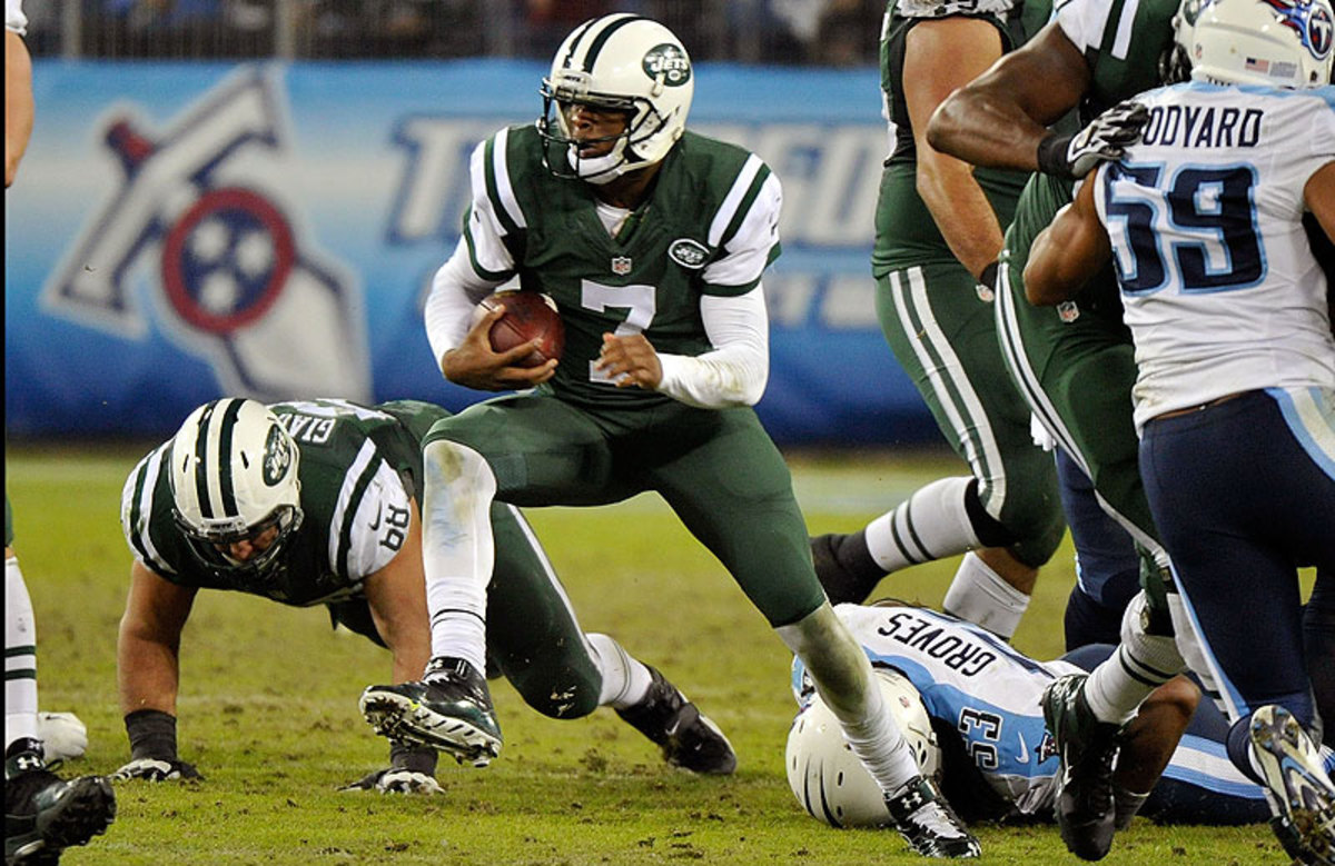 Geno Smith and the Jets ceded control of the race for the No. 1 pick by beating the Titans 16-11 on Sunday. Tennessee is now one of four teams at 2-12 (Jacksonville, Oakland and Tampa Bay). The Jets are 3-11. (Frederick Breedon/Getty Images)