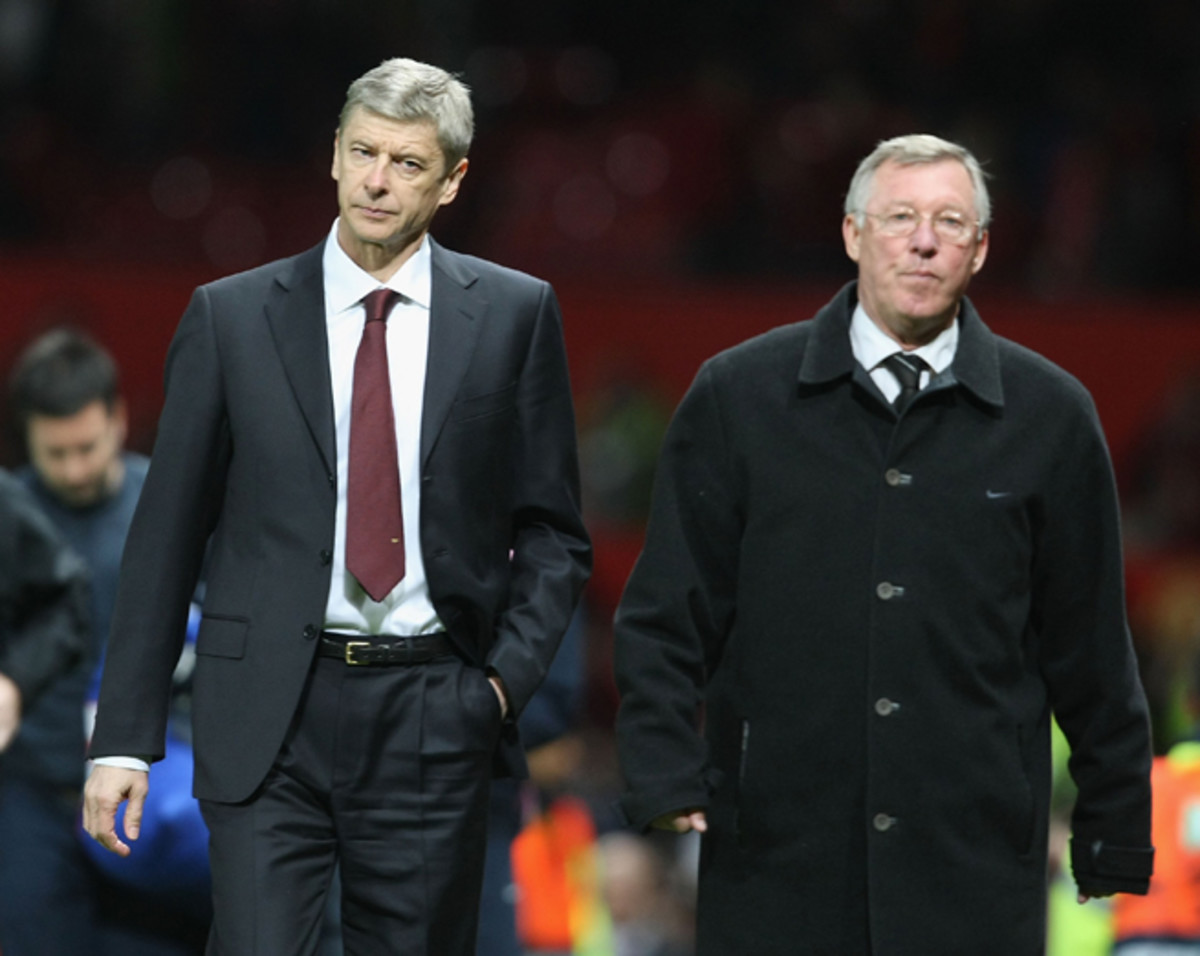 Two managers synonymous with their clubs: Arsenal's Arsene Wenger and retired Manchester United boss Sir Alex Ferguson.