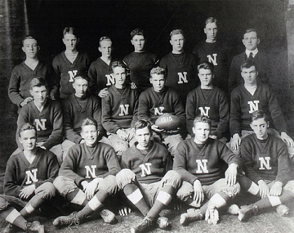 Duffy's grandfather (front row, center) played for Needham on the 1915 team. (Courtesy photo)